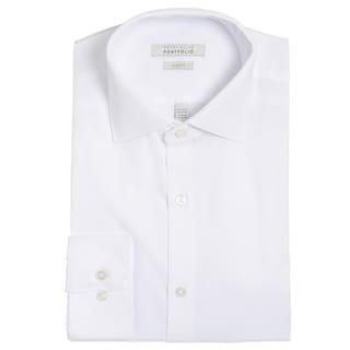 Perry Ellis Men's White Cotton-blend Slim-fit Wrinkle-free Dress Shirt