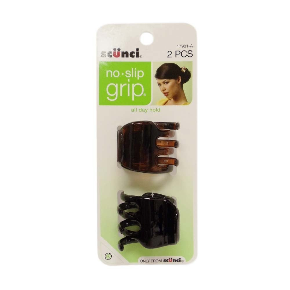 SCUNCI No Slip Grip Hair Clip (Pack of 2) (2 Pack), Brown...