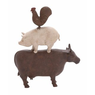 Brown/Pink Polystone Farm Animal Stack