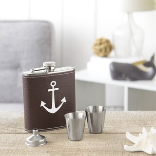 Anchor Brown Leather Wrapped 4-piece Flask Set