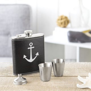 Anchor Black Leather-wrapped Stainless Steel Flask Set