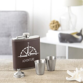 4-piece Compass Brown Leather-wrapped Stainless Steel Flask Set (Service for 2)