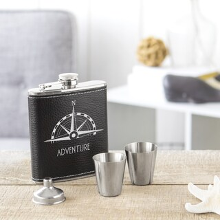 Compass Black Leather and Stainless Steel Wrapped Flask Set