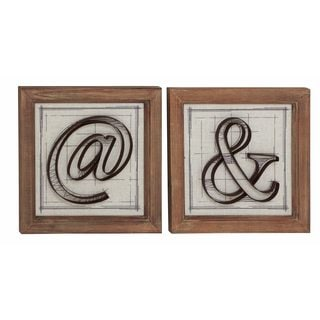 Black, White, and Brown Wood and Metal Wall Decor (Set of 2)