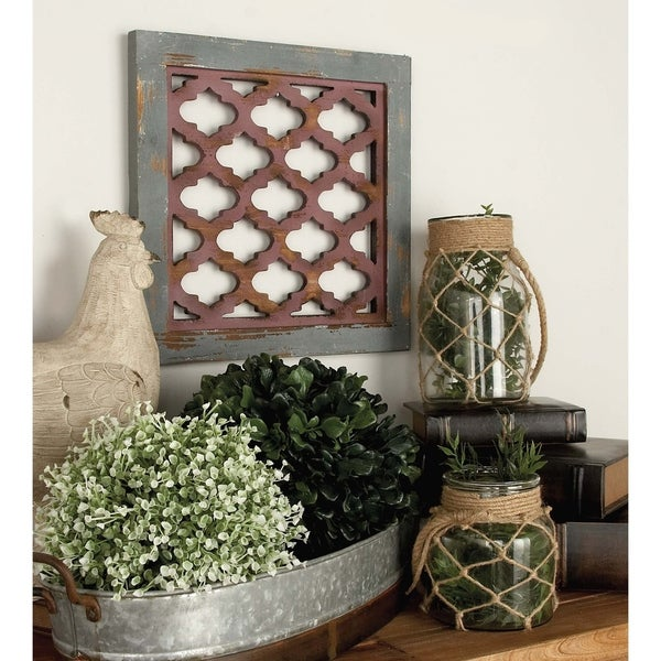 Set of 3 Farmhouse 16 Inch Latticed Wooden Wall Decors by Studio 350 - Blue/Green/Red. Opens flyout.