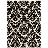 Hand Tufted Trio Damask Black and White Rug (5' X 7')