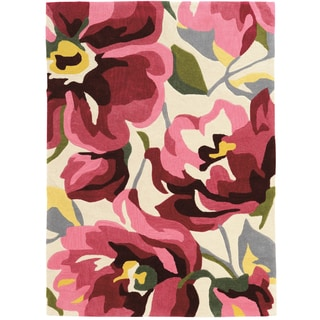 Hand Tufted TRIO Book Floral Pink Rug (5' X 7')
