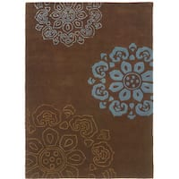 Hand Tufted Trio Collection Brown & Blue Rug (8' X 10')