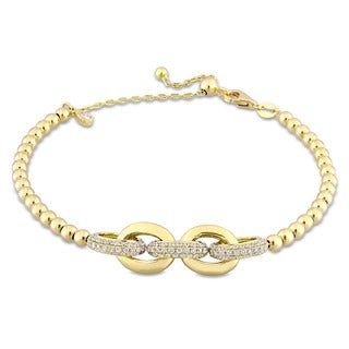 Miadora Signature Collection 18k Yellow Gold 1 1/10ct TDW Diamond Interlinked Beaded Bracelet
