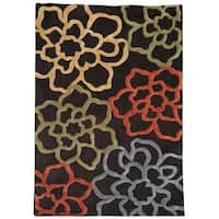 Hand Tufted Trio Collection Floral Sketch Chocolate & Pumpkin Rug (8' X 10') - 8' X 10'
