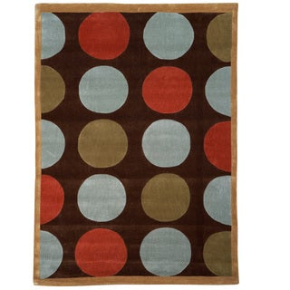 Hand Tufted Trio Collection Polka Dot Brown & Blue Rug (8' X 10')