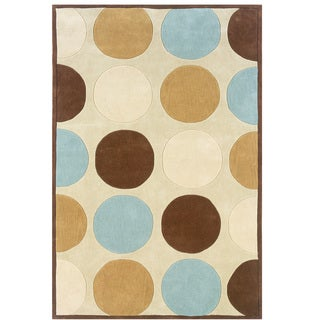 Hand Tufted Trio Collection Polka Tan & Ice Blue Rug (8' X 10')