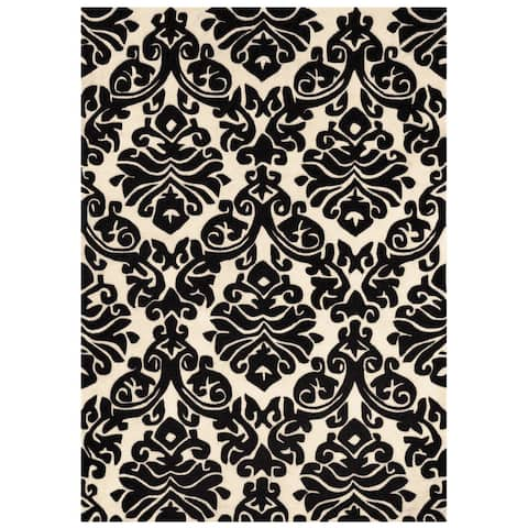 Hand Tufted Trio Damask Black and White Rug