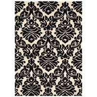 Hand Tufted Trio Damask Black and White Rug (8' X 10')