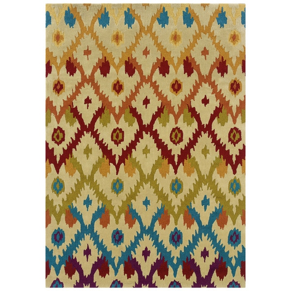 "Hand Tufted TRIO Ikat Ivory Rug (1'10"" X 2'10"") - 1'10 x 2'10"