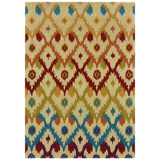 "Hand Tufted TRIO Ikat Ivory Rug (1'10"" X 2'10"")"