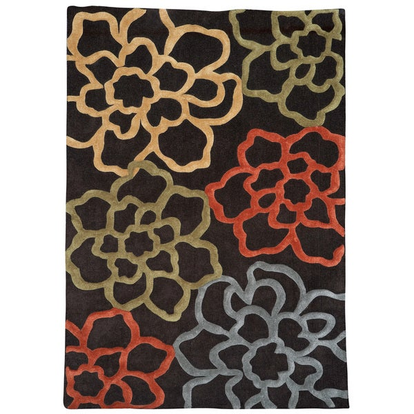 "Hand Tufted Trio Collection Floral Sketch Chocolate & Pumpkin Rug (1'10"" X 2'10"")"