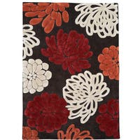 """Hand Tufted Trio Collection Bloom Sketch Chocolate & Pumpkin Rug (1'10"""" X 2'10"""")"""