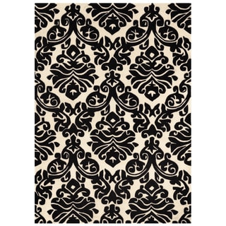 """Hand Tufted Trio Damask Black and White Rug (1'10"""" X 2'10"""")"""