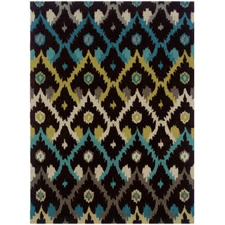 "Hand Tufted TRIO Ikat Brown Rug (1'10"" X 2'10"")"