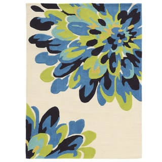 "Hand Tufted TRIO Bloom Blue Rug (1'10"" X 2'10"")"