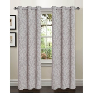 Window Elements Elinor Linen Blend Jacquard 84-inch Grommet Curtain Panel Pair - 76 x 84 in.