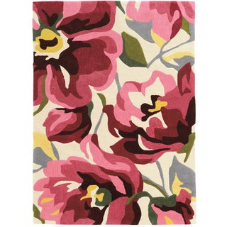 """Hand Tufted TRIO Book Floral Pink Rug (1'10"""" X 2'10"""")"""