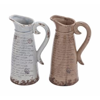 Distressed Globe Trotter Ceramic Pitchers (Set of 2)