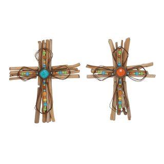 Rustic Elegance Multicolored Wood and Metal Cross (Set of 2)