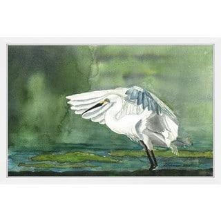 'Egret on the Pond' Framed Painting Print
