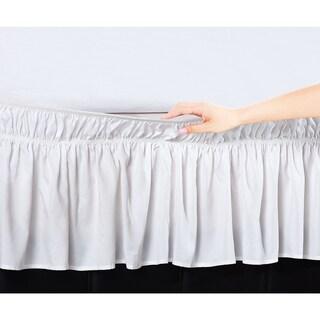 De Moocci Easy Wrap Platform-Free 16-inch Queen/King Size Drop Bed Skirt in Beige (As Is Item)