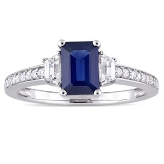 Miadora Signature Collection 14k White Gold Blue and White Sapphire with 1/10ct TDW Diamond Engagement Ring (G-H, I1)