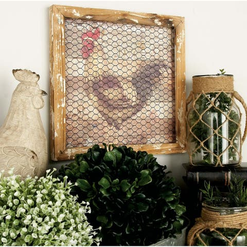 Set of 2 Farmhouse 15 Inch Rooster and Hen Wall Decor by Studio 350
