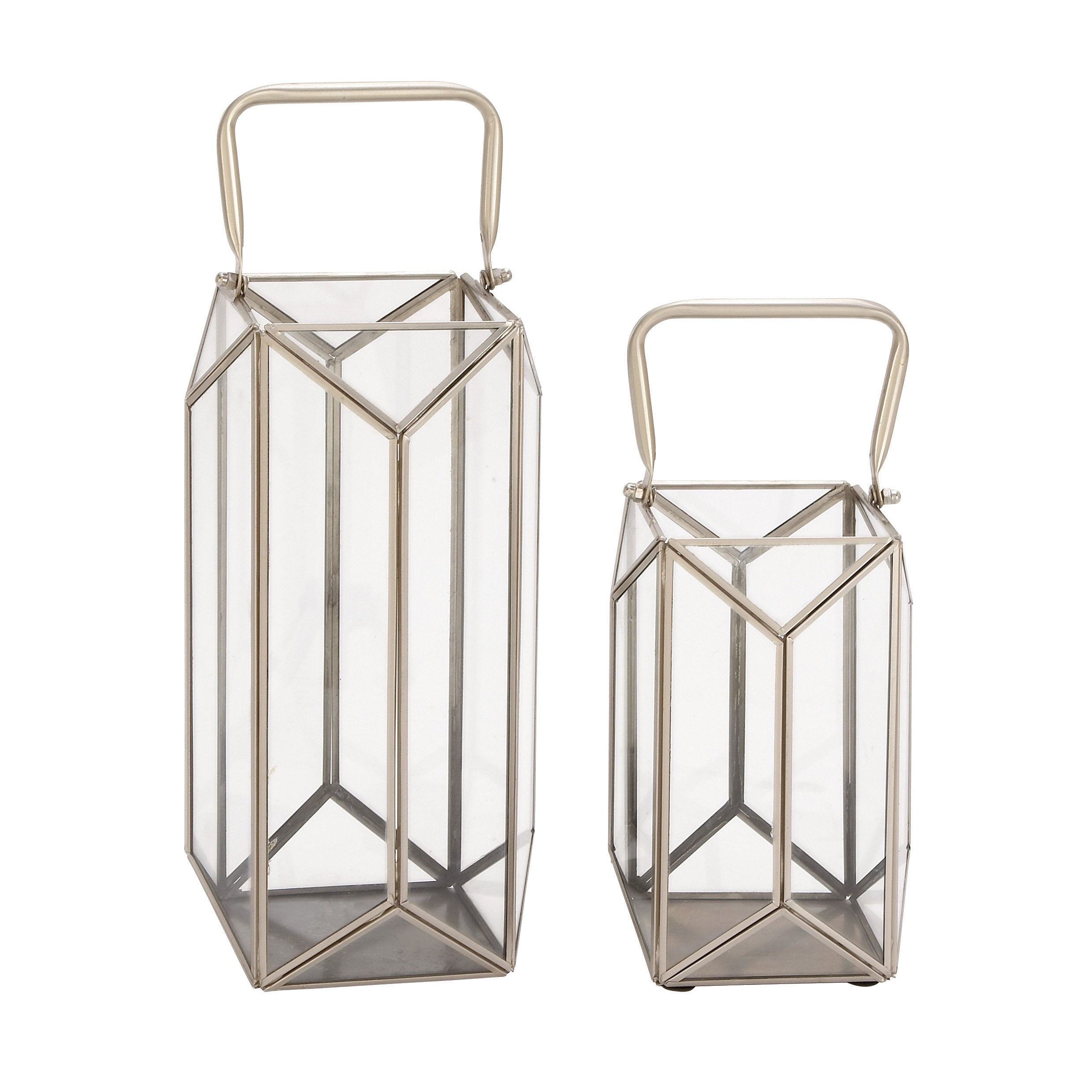 Studio 350 Metal and Glass Lantern (Set of 2) (Multi-Colo...
