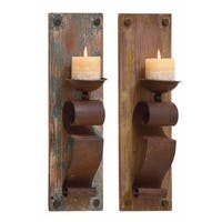 Rustic Brown Wood and Iron 19-inch Candle Sconces (Set of 2)