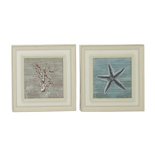 Coastal Living Polystone Framed Coral and Starfish Wall Art (Set of 2)