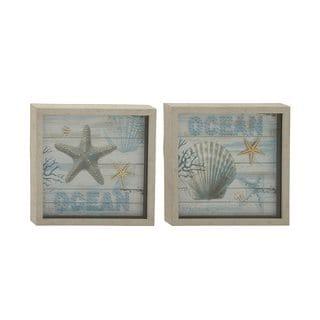 Multicolored Polystone Framed Ocean-themed Art (Set of 2)