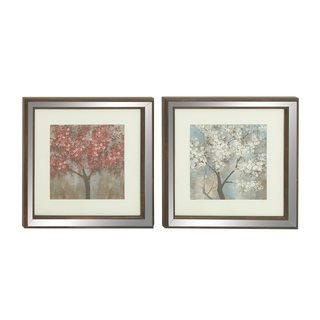 Polystone Mirror Framed Nature-themed Art (Set of 2)