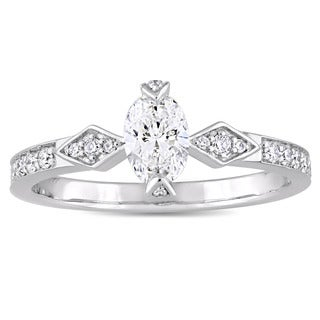 Miadora Signature Collection 14k White Gold 3/4ct TDW Oval and Round-Cut Diamond Engagement Ring