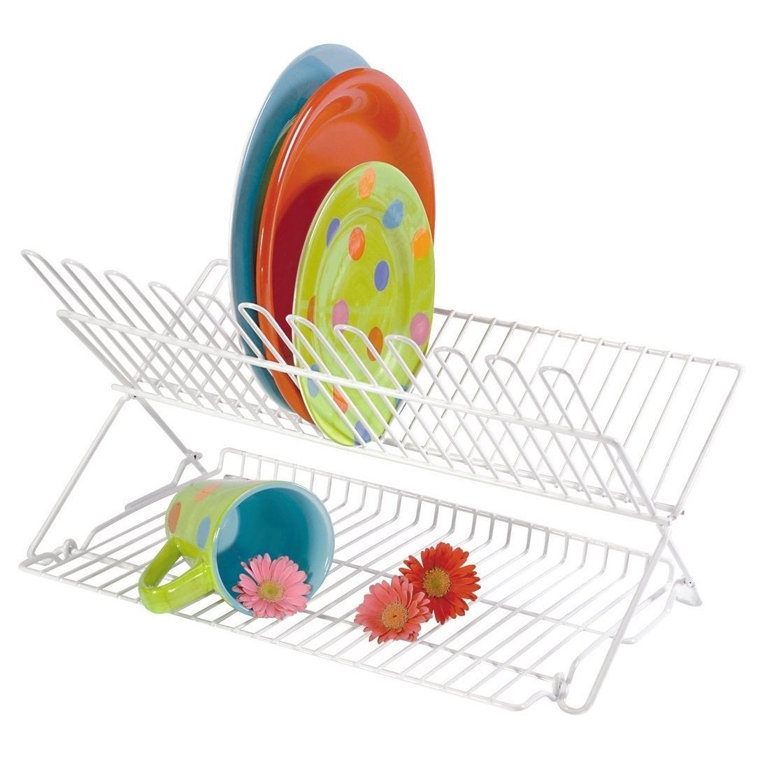 Folding Dish Rack - White (White) (Steel)
