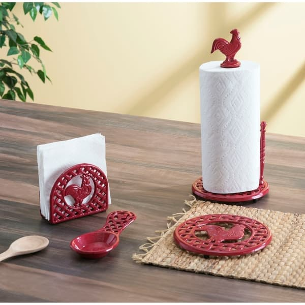 Home Basics Red Cast Iron Rooster Paper Towel Holder