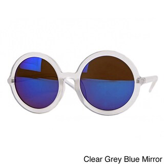 Pop Fashionwear P2201 Unisex Fashion Round Retro Sunglasses (Option: Clear Grey Blue Mirror)