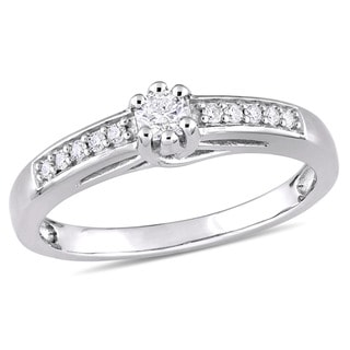 Miadora Sterling Silver 1/4ct TDW Diamond Engagement Ring