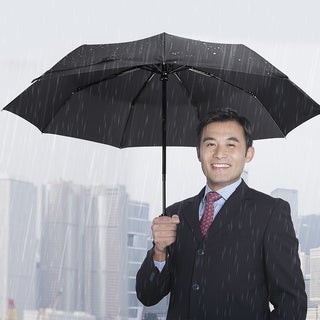 Black Large One-handed Operation Automatic Open/ Close Travel Umbrella