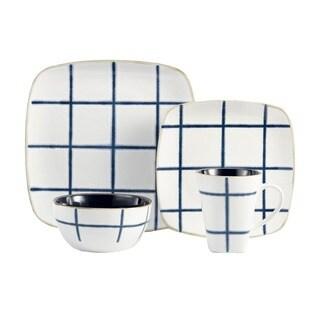American Atelier Aquare Blue Earthenware 16-piece Dinnerware Set