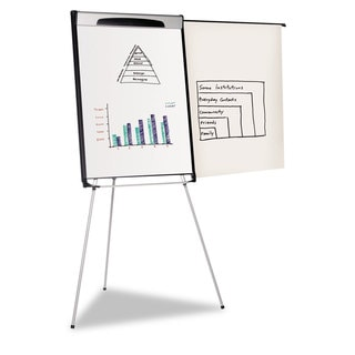 MasterVision Tripod Extension Bar Magnetic Dry-Erase Easel 39-inch to 72-inch High Black/Silver