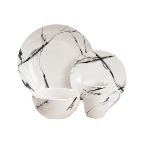 American Atelier Marble Black Coup 16-piece Dinnerware Set