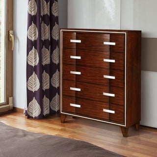 Furniture of America Berr Contemporary Cherry Solid Wood Curved Chest