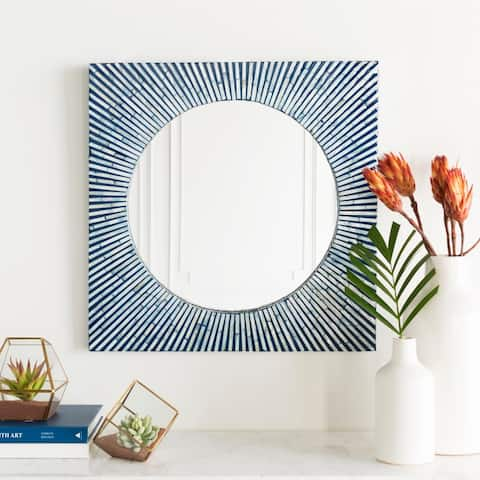 "Helu Mother of Pearl Inlaid Wall Mirror (24 x 24) - Blue - 24"" x 24"""