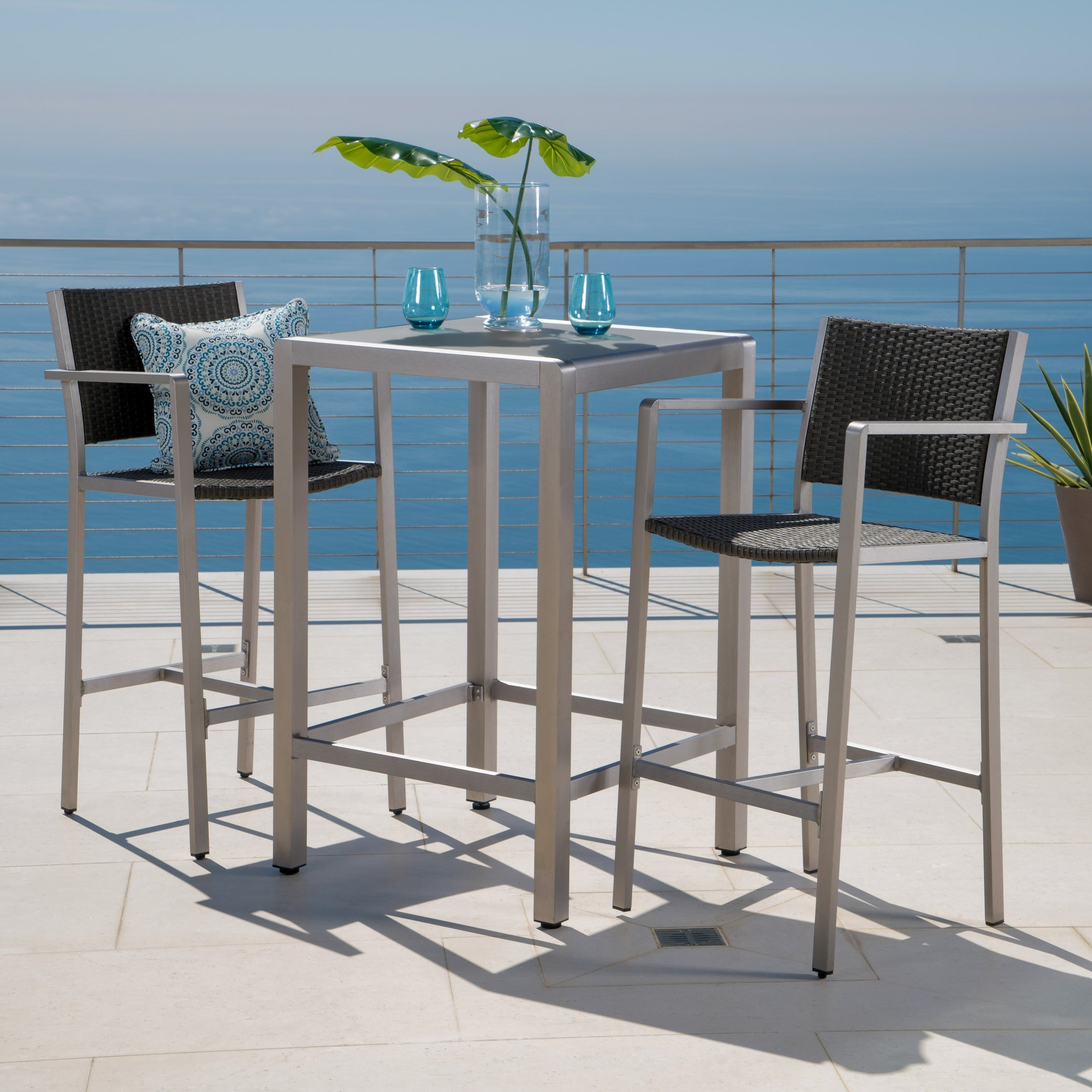 Cape Coral Outdoor 3-piece Bar Set with Glass Table Top b...